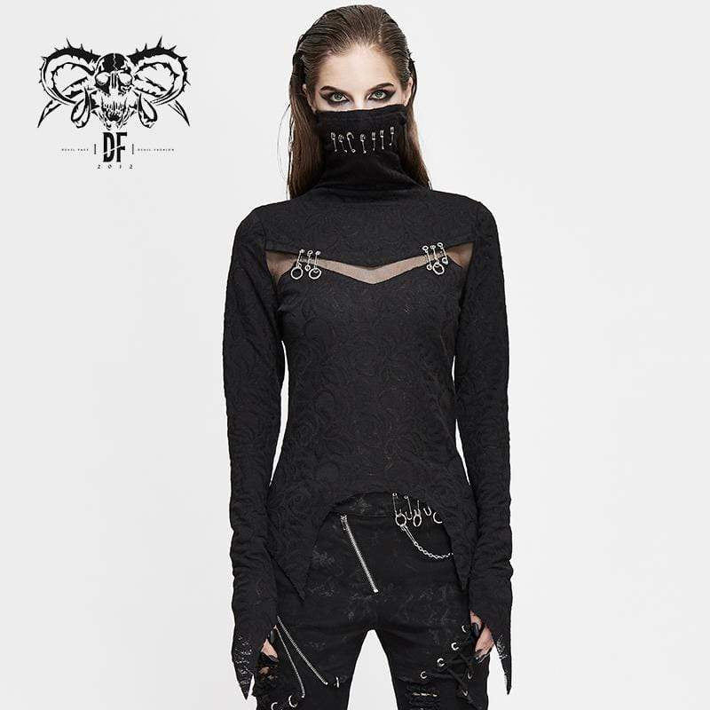 DEVIL FASHION Women's Gothic High Collar Mesh Jacquard Tops