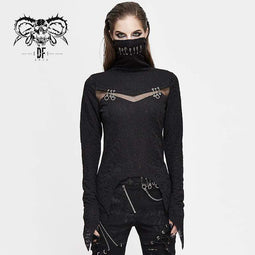 DEVIL FASHION Damen Gothic High Collar Mesh Jacquard Tops
