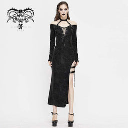 DEVIL FASHION Women's Gothic Lace-up Fitted Irregular Halter Dresses