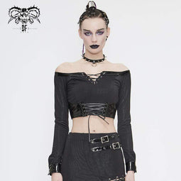 DEVIL FASHION Damen Gothic Off Shoulder Schnürung Kunstleder Detail Crop Top