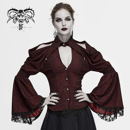 DEVIL FASHION Damen Gothic Off-Shoulder V-Ausschnitt Flare Sleeve Shirts Rot