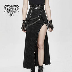 DEVIL FASHION Femmes Gothic PU Ceintures Slit Wrap Jupes