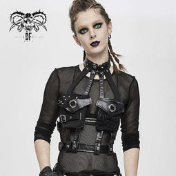 devil fashion Women's Gothic Punk PU Leather Pocket Harness