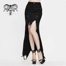 DEVIL FASHION Women's Gothic Ripped Irregular Skirts With Rivets