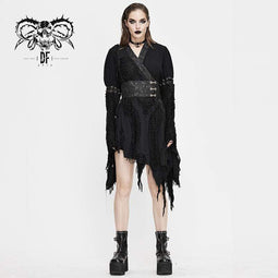 DEVIL FASHION Women's Gothic Ripped kimonos With Chinese Button Belt