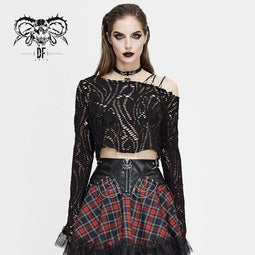 DEVIL FASHION Gothic Slash Shoulder Ripped Tops für Damen