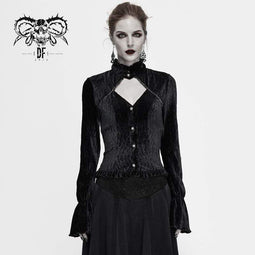 DEVIL FASHION Damen Gothic Stand Collar Cutout Cord Shirts