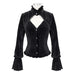 DEVIL FASHION Women's Gothic  Stand Collar Cutout Corduroy Shirts