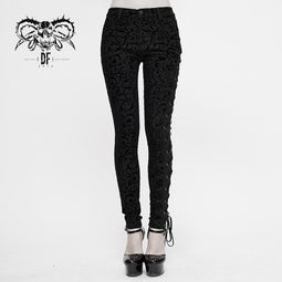 DEVIL FASHION Leggings in jacquard con cinturini gotici da donna