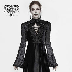 DEVIL FASHION Femmes Gothic Tassels Flare Sleeve Velet Capes