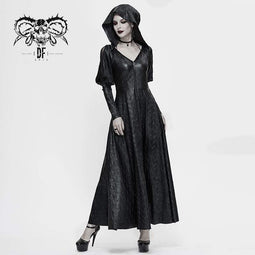 DEVIL FASHION Women's Gothic V-neck Front Zip Coats With Hood