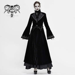 DEVIL FASHION Damen Gothic Velet Large Revers Flare Sleeve Lange Mäntel