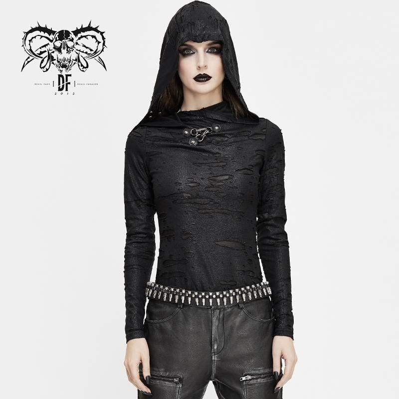 DEVIL FASHION Damen Grunge Riss Langarm Tops mit Kapuze
