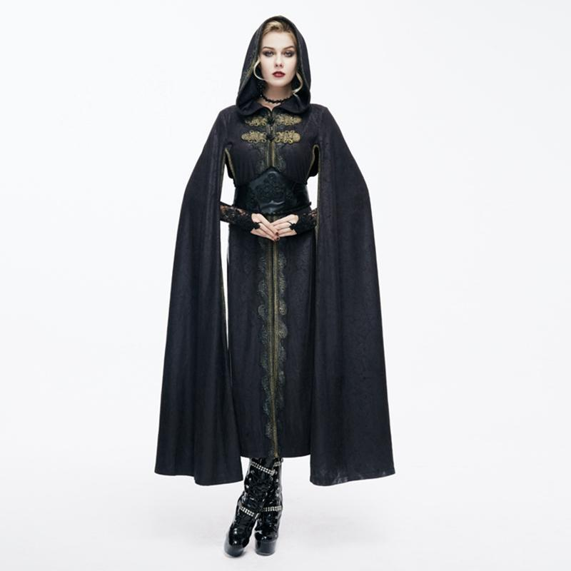 Women's Hooded Goth Cape With Long Slits-Punk Design