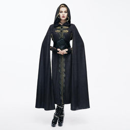 DEVIL FASHION Women's Hooded Goth Cape With Long Slits