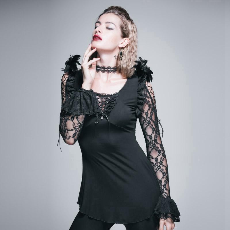 Women's Lace and Ruffle Punk Top-Punk Design