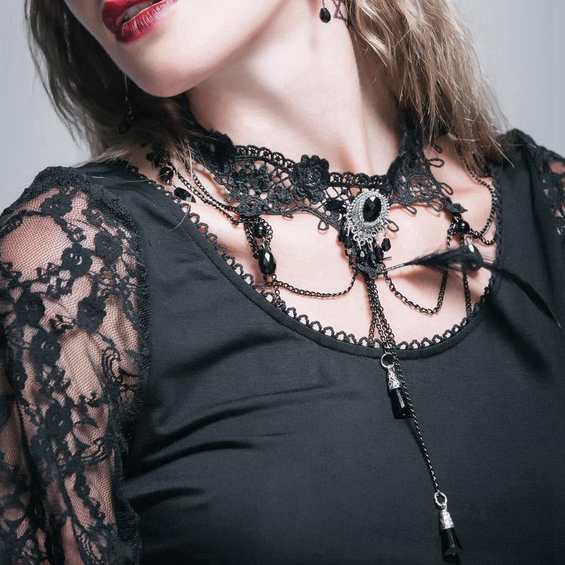 Women's Lace & Bead Goth Neck Piece Lace Choker-Punk Design