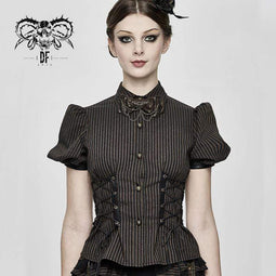 DEVIL FASHION Camicie a manica corta Steampunk stringate da donna