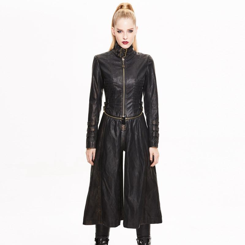 DEVIL FASHION Women's Long Faux Leather Punk Jacket