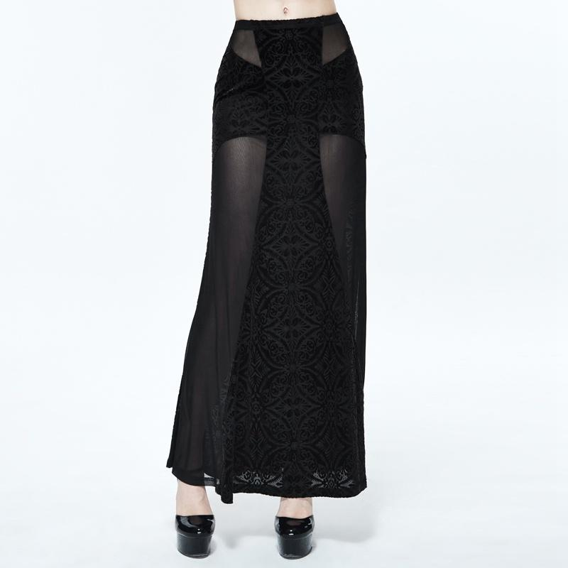 Women's Long Punk Skirt With Sheer Net Panels-Punk Design