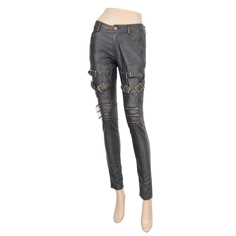 DEVIL FASHION Women's Low Rise Skinny Leather Punk Trousers