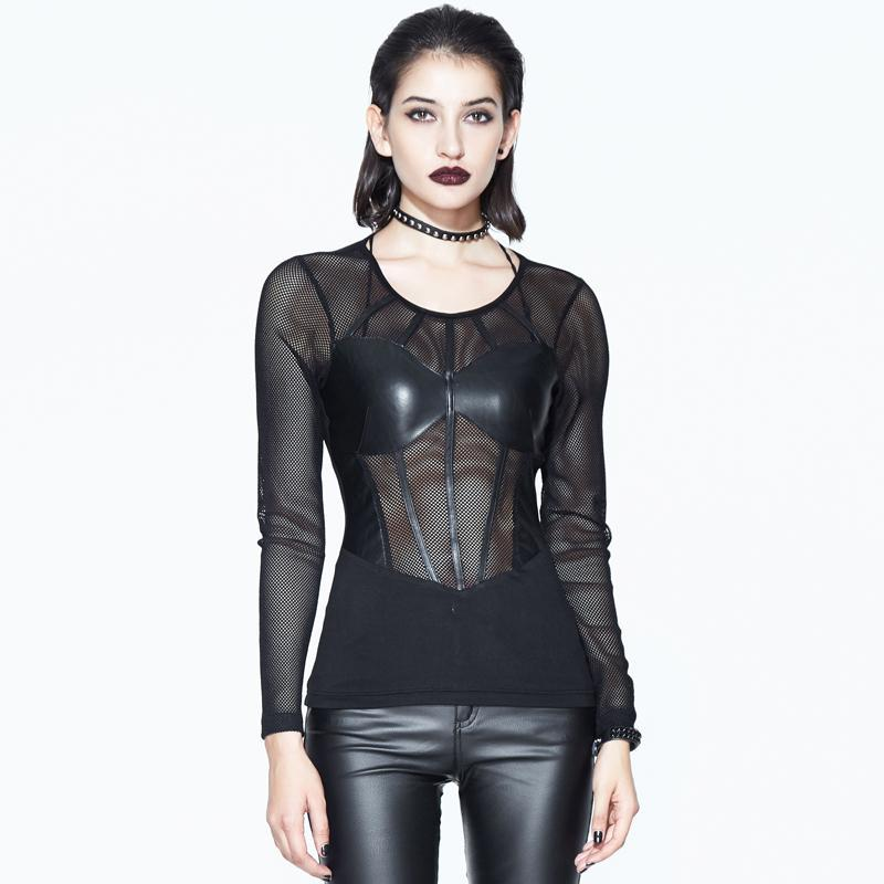 Women's Net and Faux Leather Punk Goth T-shirt-Punk Design