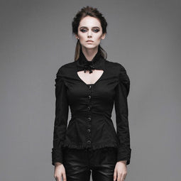 Women's Peekaboo Neck Fitted Goth Top-Punk Design