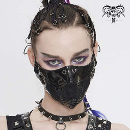DEVIL FASHION Damen Punk Black Net und PU Ledermaske