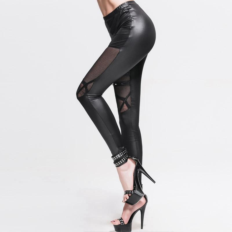 Women's Punk Faux Leather Net & Strap Leggings-Punk Design