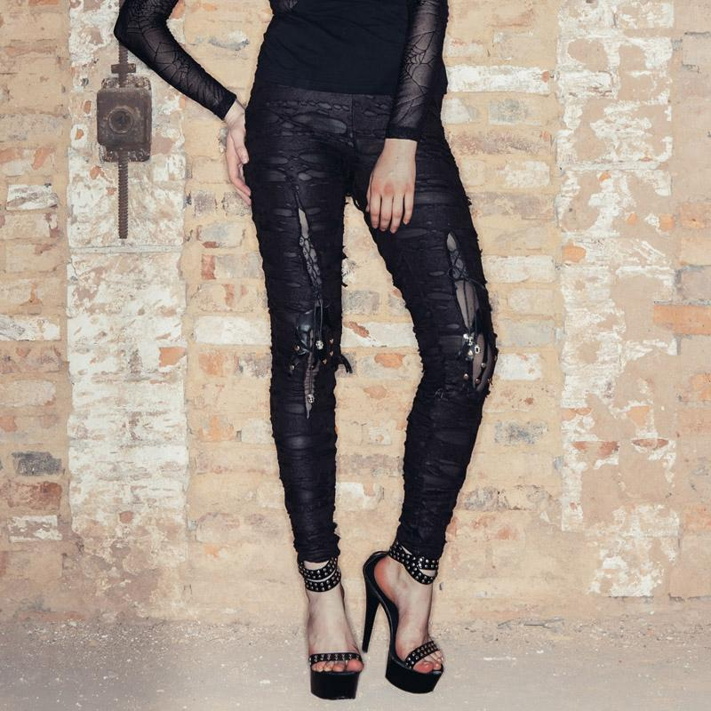 Punk Layered Distressed Pantalones-Punk Design para mujer