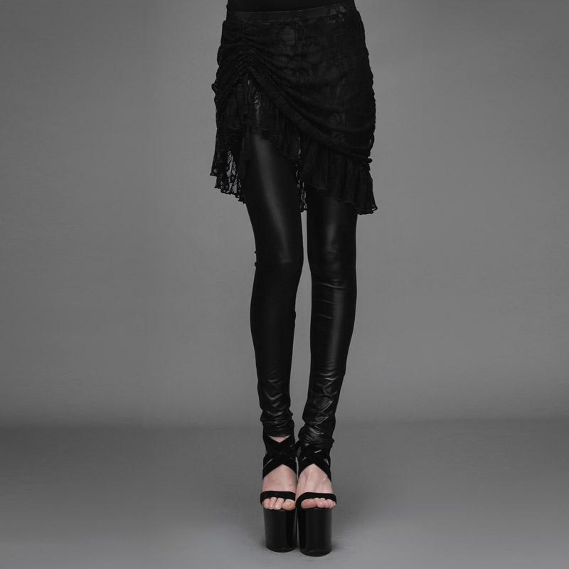 Women's Punk Leggings With Ruched Lace Skirt-Punk Design
