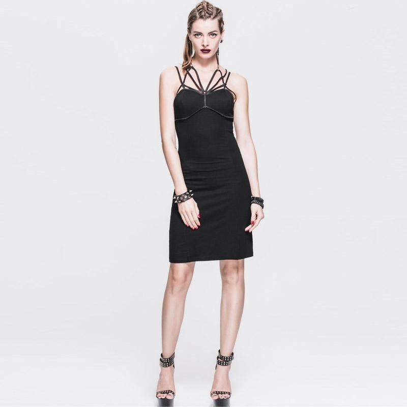 Women's Punk Sheath Dress With Strap Webbing-Punk Design