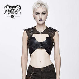 DEVIL FASHION Women's Punk Straps Faux Leather Bustier Tops