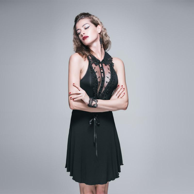 Women's Racerback Short Dress With Lace-Punk Design