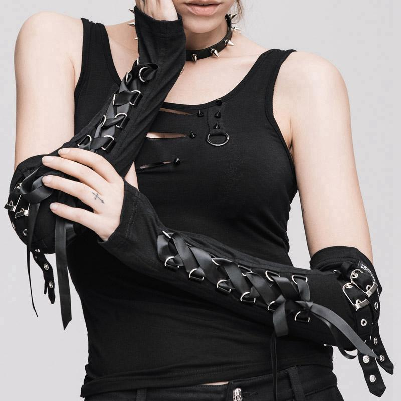 Damen funkelnde Goth Half Sleeve Fingerless Gloves-Punk Design