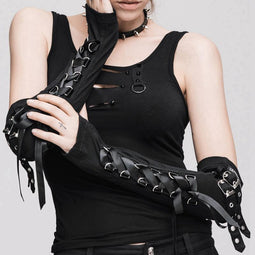 Women's Scintillating Goth Half Sleeve Fingerless Gloves-Punk Design