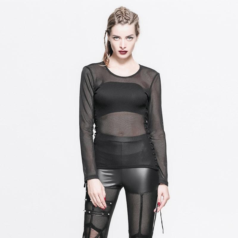 Women's Sheer Mesh Cross Hatch Top-Punk Design