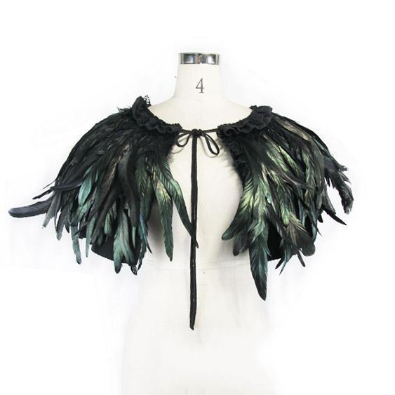 Women's Short Goth Feathered Cape-Punk Design