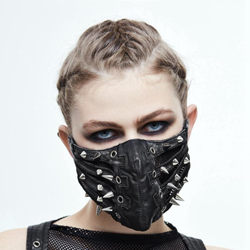 Women's Spikey Leather Face Mask-Punk Design