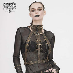 DEVIL FASHION Women's Steampunk Brown Body Harness with Brass Chain
