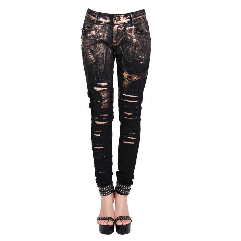Women's Steampunk Distressed Skinny Pants-Punk Design
