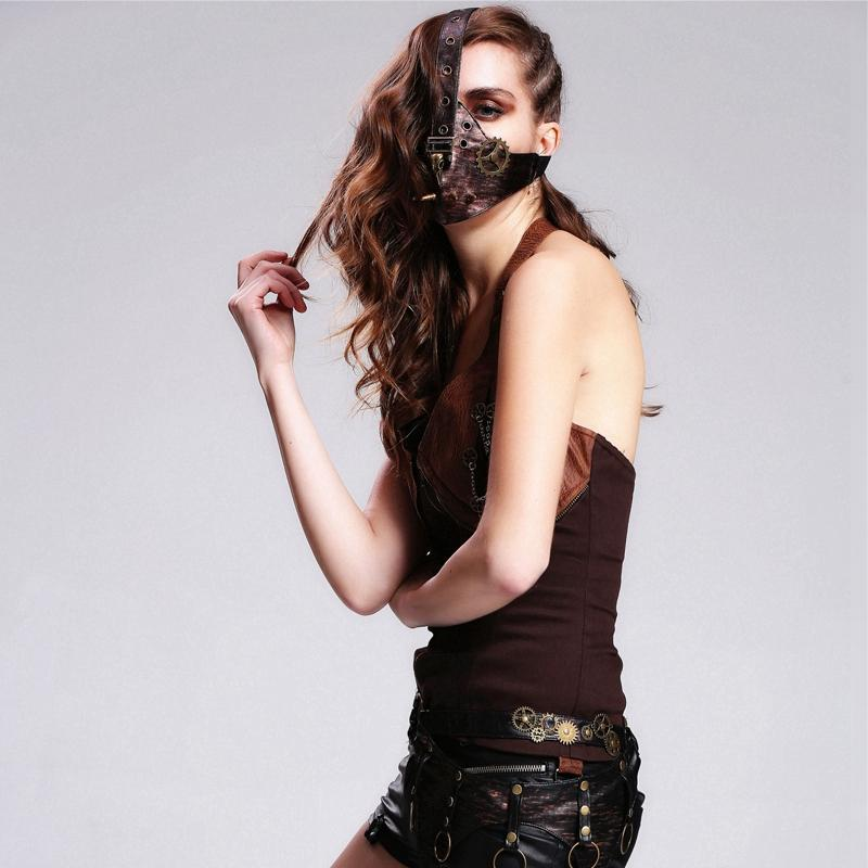 DEVIL FASHION Women's Steampunk Face Mask With Spikes