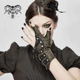 DEVIL FASHION Women's Steampunk Gears Zipper Irregular Gloves