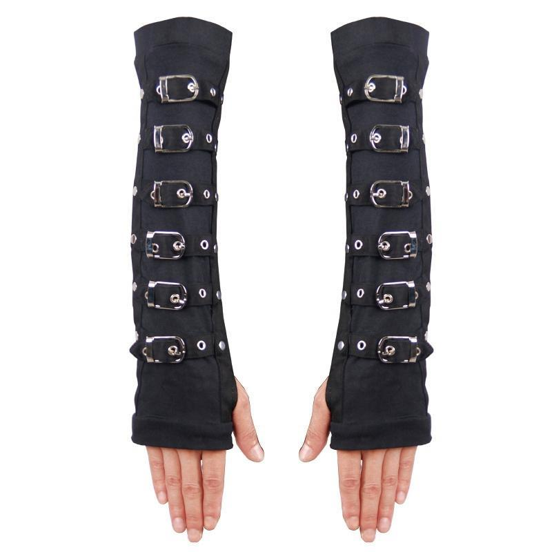 Women's Strappy Fingerless Long Gloves-Punk Design