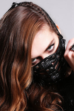 Women's Textured Faux Leather Studded Muzzle-Punk Design