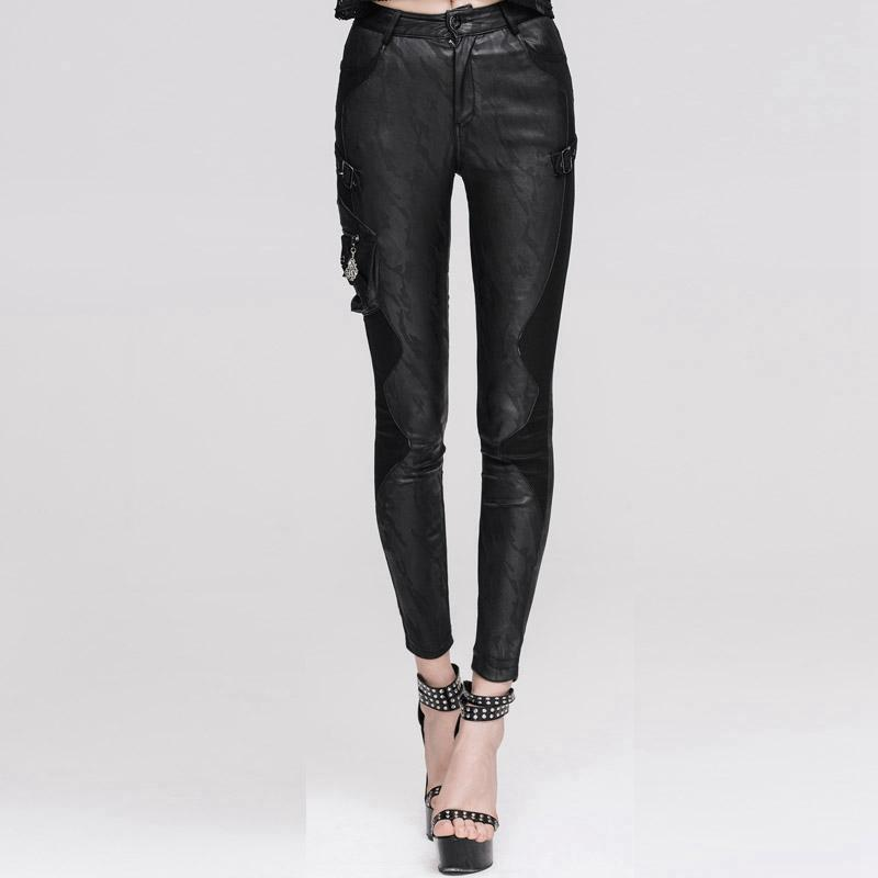 DEVIL FASHION Women's Textured Leather Punk Trousers with Stitched Detail