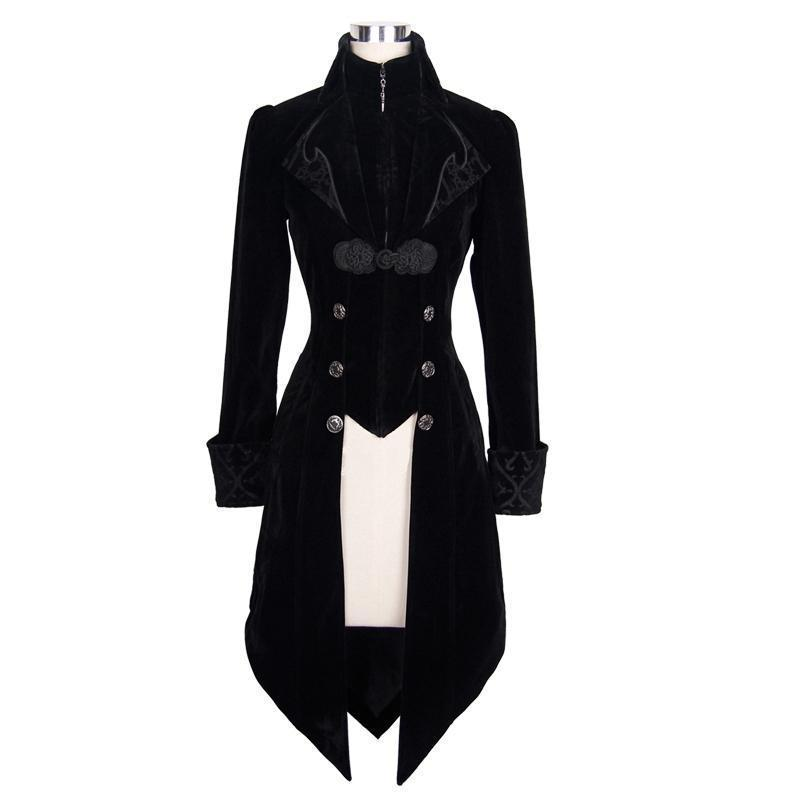 Women's Three Button Vintage Goth Coat-Punk Design