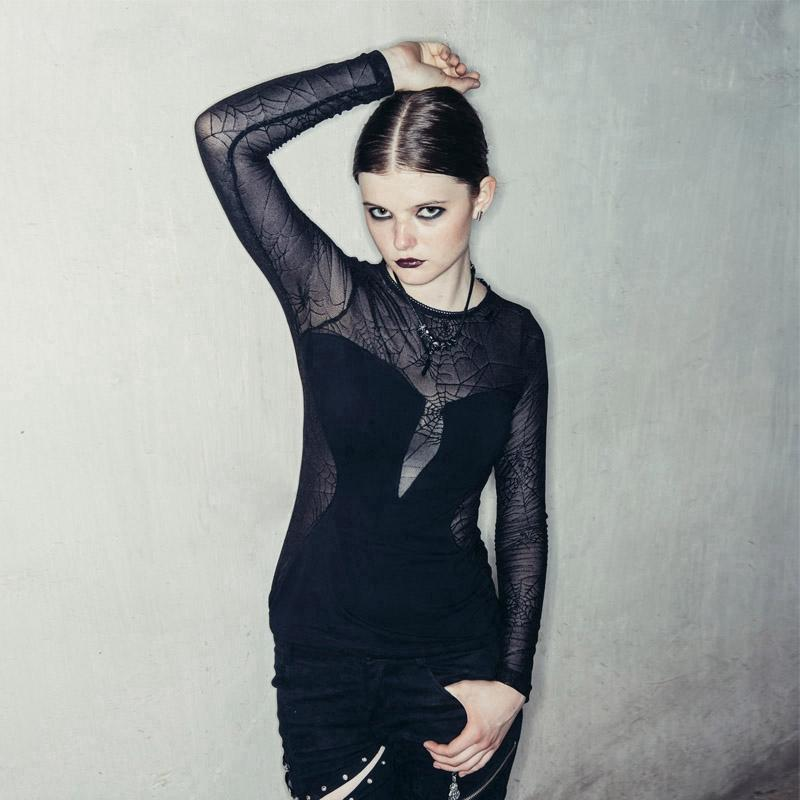 Women's Velvet and Spider Web Lace Top-Punk Design