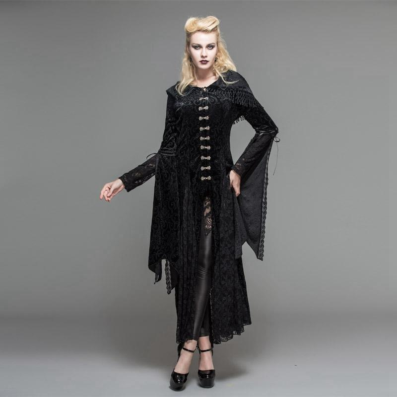 Women's Vintage Goth Hooded Robe-Punk Design