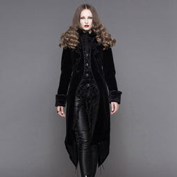 DEVIL FASHION Women's Vintage Goth Tailcoat With Large Buttons